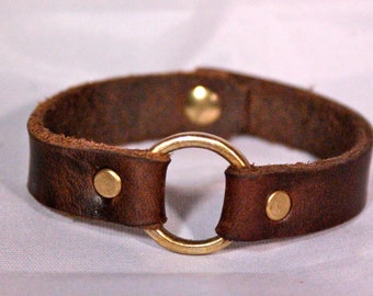 Leather Ring Bracelet Brass