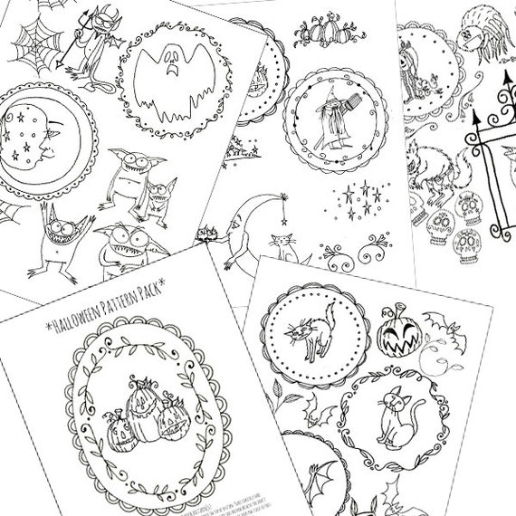 halloween embroidery patterns printable set of digital downloadable pdf hand embroidery moon cats pumpkins witch bats 0050 - Halloween Hand Embroidery Patterns