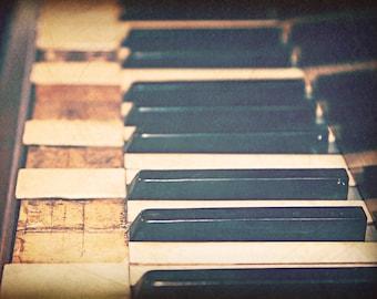 Piano Fine Art Photography 'Broken Melody' Music Wall Art, Vintage Piano, Instrument Print, Broken Piano Keys, Musical Photo, Still Life