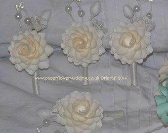 Ivory Paper Flower Buttonhole