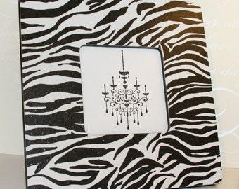 Zebra Picture frame, Photo frame, Black and white photo, Animal print decor