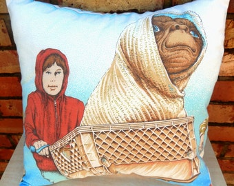 ET & Elliott on Bike Vintage Fabric Cushion - handmade by Alien Couture