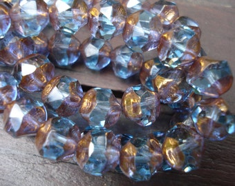 8mm aqua central cut Czech glass beads, with amethyst and bronze flashes, 6 beads