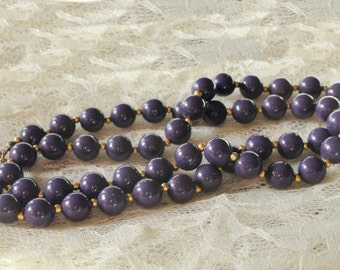 Vintage Purple Bead Necklace, Double Strand, Choker, Costume Jewelry, Gold Tone,