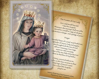 Our Lady of Mount Carmel Holy Card / Prayer Card, Virgin Mary and Child Jesus #0039