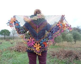 free worlwide shipping, handmade mohair triangle crochet shawl,cowl,neckwarmer with rainbow tones flower ready to ship