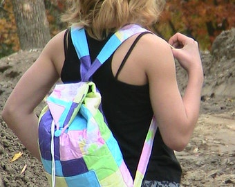 """Backpack Bag/Purse -- Quilted -- Pastels and Butterfly Pattern (12"""" wide x 14"""" tall)"""
