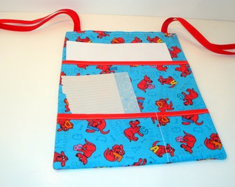 Tie Seat Sack - Organize Kid Toys - 3 Pockets - Clifford the Big Red Dog Alphabet Pattern