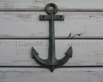 Cast Iron ANCHOR Wall Decor - Rust Patina Green Aqua - Nautical Coast Sea Home Decor -