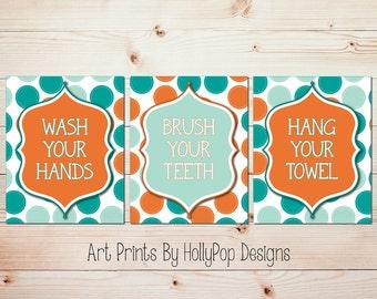 Childrens Art Prints Bathroom Manners Trio Print Set Wash Your Hands Brush Your Teeth Hang Your Towel Orange Teal Bathroom Art Kids Bathroom