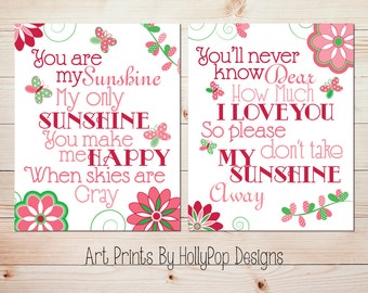 Baby Girl Nursery Wall Decor You are My Sunshine Girls Room wall art Pink Green Floral decor Flower Butterfly Decor Nursery Duo   #620