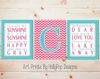 Baby Girl Nursery Wall Decor Set of 3 Nursery Prints You are My Sunshine Modern Chevron Monogram Pink Aqua Wall Decor Girl Room Wall Art 729