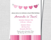Heart Bunting Birthday Invitation - Pink Girl Birthday Party - Valentine's Day Party - Digital Design or Printed Invitations - FREE SHIPPING