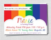 Rainbow Birthday Party Invitation - Rainbow Themed Birthday - Digital Design or Printed Invitations - FREE SHIPPING