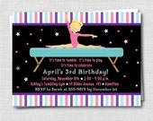 Modern Gymnastics Birthday Invitation - Gymnastics Theme Party - Digital Design or Printed Invitations - FREE SHIPPING