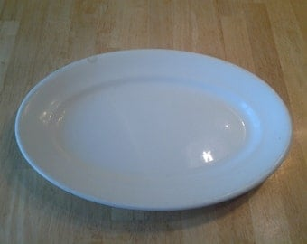 On Sale Mid Century Homer Laughlin Ironstone Hotel China Winter White Oval Serving Platter
