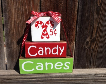 Christmas wood stacker blocks- Candy Canes 5 cents