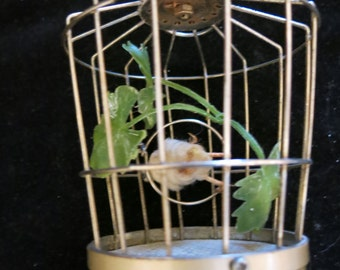 "Vintage Antique Japanese made Bird Cage Music Box 7"" tall 4"" top diameter 3"" base diameter Good Condition"