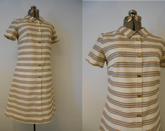 Vintage 1960s Dress, 60s Tan Striped Mod Dress, 1960s Minimalist Shift