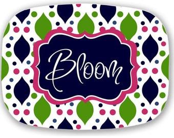 Personalized Melamine Platter - Custom preppy Monogram Tray