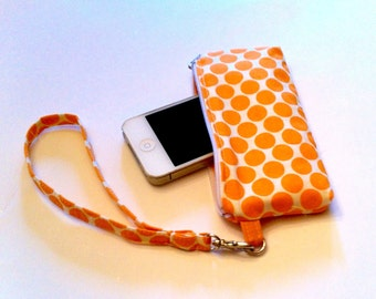 iPhone Wristlet, Polka Dot Wristlet Wallet, Small Tangerine Phone Case