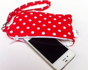 iPhone Wristlet Red and White Polka Dots, Small Zipper Pouch, Wristlet Wallet