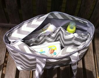 Large Diaper Bag, Grey and White Chevron Baby Bag