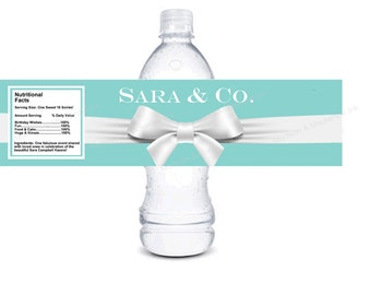 Designer inspired personalized water bottle labels - bow printable