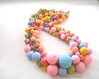 necklace of beads, colored balls, elegant necklace, a necklace of pink, blue, yellow, balls