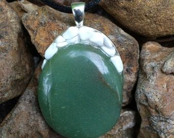 Green Aventurine & White Howlite Pendant Handmade New Age Earth Love Metaphysical Magick Pagan Wicca Hippie Bohemian