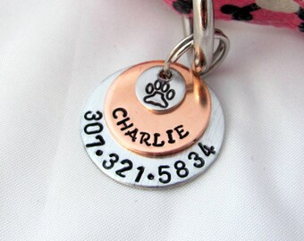 Hand Stamped 3 Disc Pet ID Tag, Dog Tag, Cat Tag, Copper and SIlver