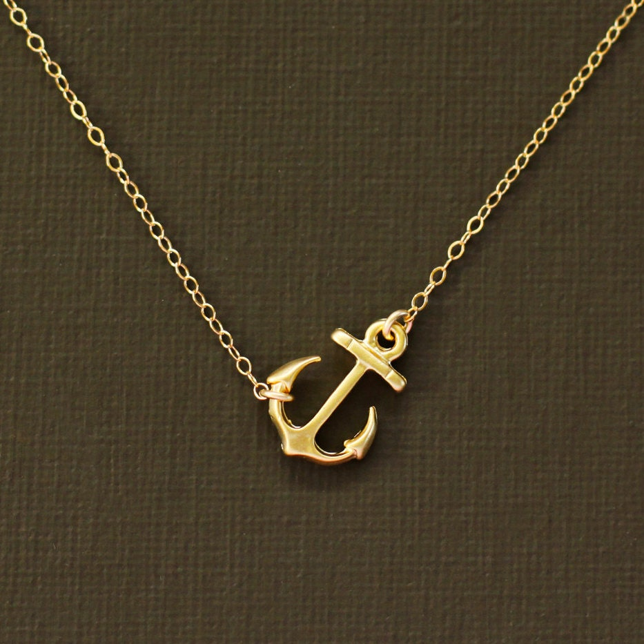 Gold anchor necklace 14k gold filled chain for Gold filled jewelry