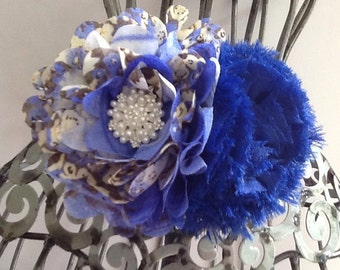 Royal blue hair clip, vintage inspired floral print with pearl accent, bright blue hair accessory, girls hair flower, hair accessory