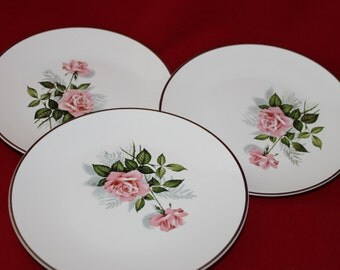 3 Vintage Tea Party Plates, Rose Spray Side or Bread Plates, Cottage Style Shabby Chic Table Home Decor