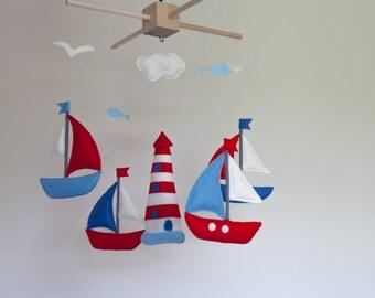 Baby mobile - sailboat baby crib mobile - felt sea mobile - lighthouse - nautical mobile - nursery decorative mobile