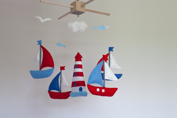 Kinderbett segelboot  Baby mobile Segelboot Kinderbett Mobil Filz Meer mobile