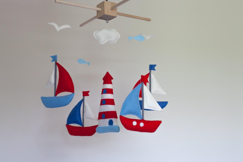 Baby mobile sailboat baby crib mobile felt sea mobile