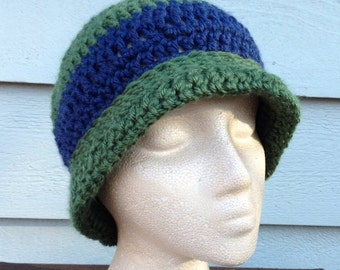 Crocheted Hat |Green and Navy Stripe Beanie