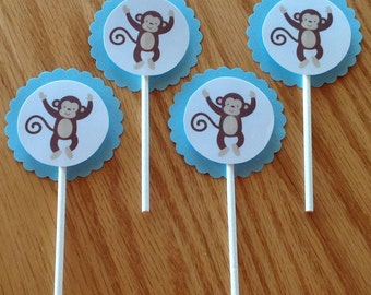 12 Jungle Monkey baby shower cupcake toppers, hand crafted, adorable