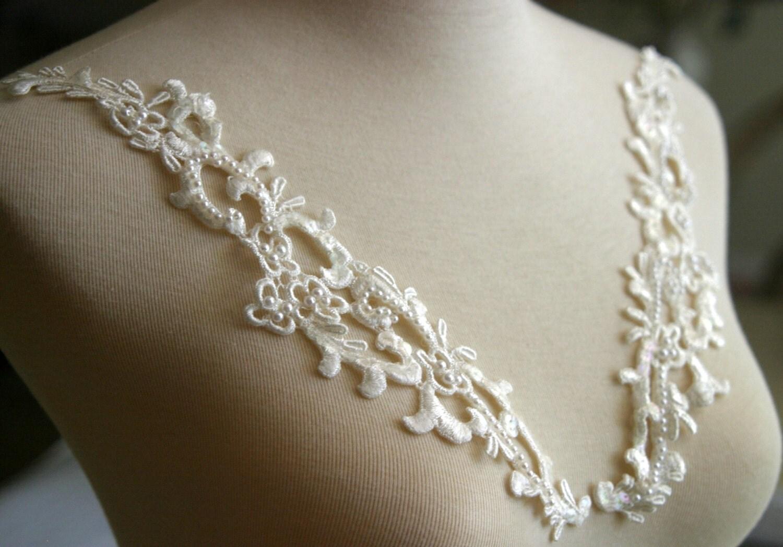 set of ivory beaded lace applique lace applique custom