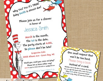 Dr. Suess Baby Shower Invitations - 5x7 with 3x3 Insert included - Bring a book Insert Included - Customized Digital & Printable File