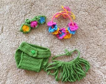 Crocheted Hawaii Hula Girl Outfit-Newborn