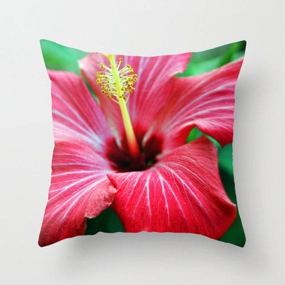 Red Hibiscus Decorative Pillow : Items similar to Pink Hibiscus Flower - Throw Pillow Cover, Hawaiian Decor, Tropical Floral ...