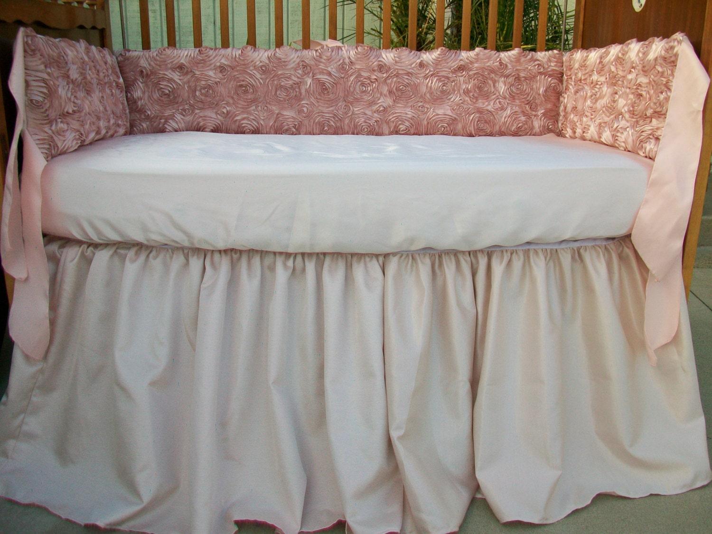 Dusty Rose Rosette Shantung and Minky Dot Crib Bedding Set
