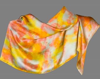 Silk Satin Charmeuse Rectangular Shawl Scarf Hand Painted in Oranges Yellow and Celedon, 46 by 17 inches