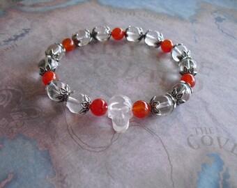 Crystal clear skull head bracelet