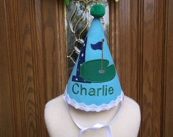 Boys First Birthday Party Hat - Golf Theme - Free Personalization