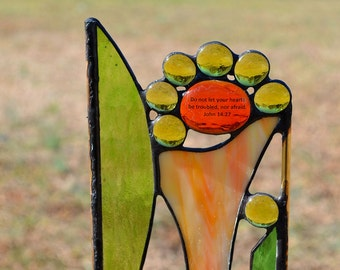 Religious Stained Glass Yard Art, Garden Decor, Garden Art, Garden Sculpture, Choice of Plant Stake or Hanging Panel, 'Flowers with Verse''