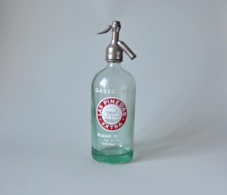 Water Bottle In Spanish: Vintage Siphon Las Pinedas Spanish Water Bottle By