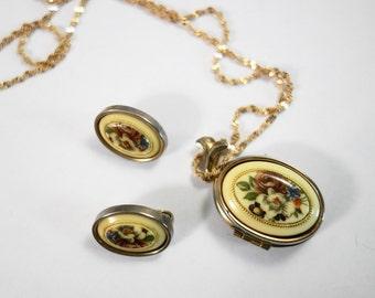 SALE Vintage  Flower Locket and Earrings Set  Now  95.00 was 125.00